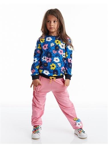 Denokids Çiçekli Kız Eşofman Takım Renkli